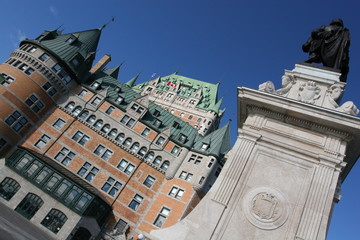 Chateau Frontenac, Monument Champlain in Quebec City, Canada