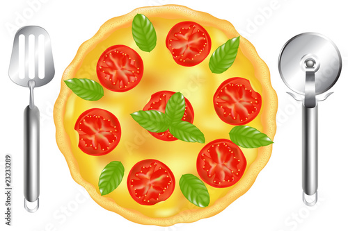 Italian Pizza With Pizza Spatula And Pizza Cutter