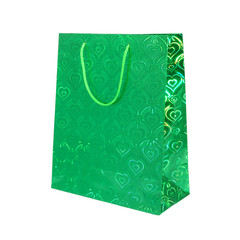 Green shopping bag isolated on white