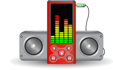 Music player with speakers