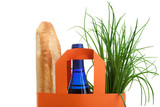 shopping bag with bread, bottle and greenery poster