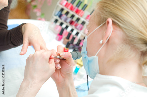 Manicure in process
