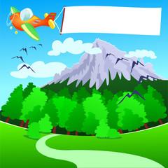Aereo e banner, sui monti