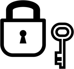 Vector padlock and key illustration