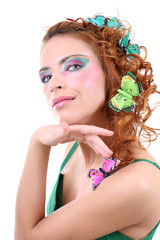 Red-haired woman with butterflies on her head