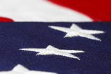 shallow focus view of the american flag