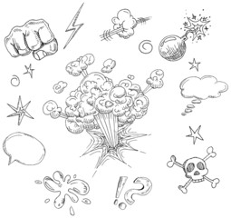 Vector Comic elements hand drawn