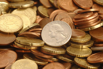 guarter on the euro coins backgroun