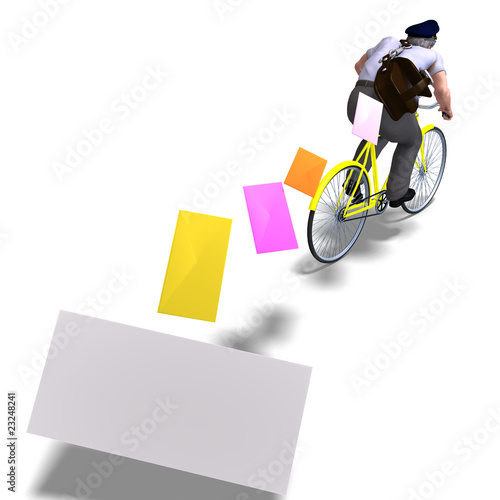 postman on a bike with invitations. 3D rendering with clipping p
