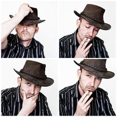 homme fumeur au chapeau, mosaïque