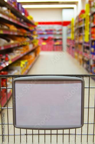 Keuken foto achterwand Boodschappen Einkaufswagen mit Werbefläche
