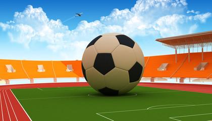 Grande Pallone al centro di uno stadio
