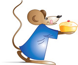 Illustration of rat hand with cake