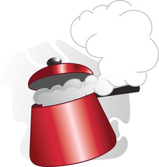 Illustration of cooking equipments in pressure cooker
