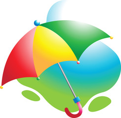 Illustration of colourful umbrella in red handle