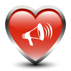 Heart Shape Megaphone Sign Icon