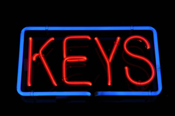 Keys Neon Red and Blue Sign