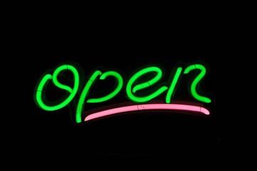 Open Green Neon Sign