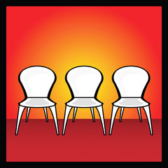 Illustration of chair in red background