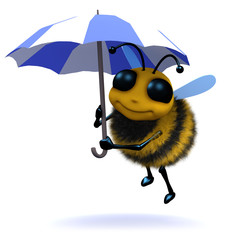 3d Bee in the rain