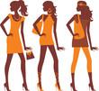 fashionable females silhouettes