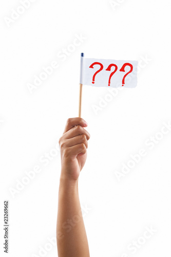 Hand holding question marks flag