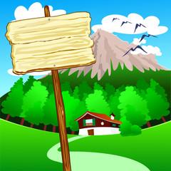 Cartello di legno, in montagna