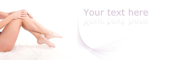 jambes de femme - panneau texte