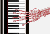hand robot  playing piano