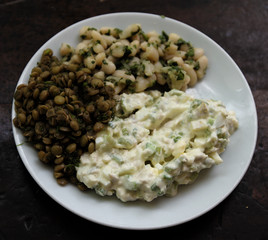 potato salad, hummus chickpea, and green chick pea appetizers