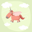 roleta: Cute pink cartoon Unicorn , vector illustration