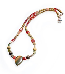 Men's necklace from colorful natural semiprecious stones