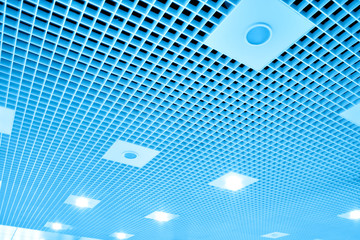 abstract geometric ceiling inside modern airport