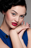 Closeup beautiful emotional glamour woman with red lips. Vogue poster