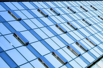 beautiful crop of blue skyscrapers
