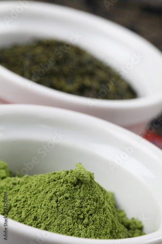 Tea collection - focus on matcha green tea powder