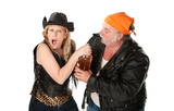 Motorcyle gang couple arguing about a beer bottle poster