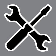 Wrench and screwdriver. Repair workshop emblem - Vector