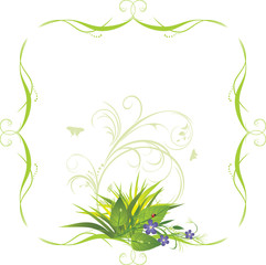 Bouquet of flowers with grass in the decorative frame. Vector