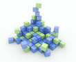 Heap of cubes on a white background