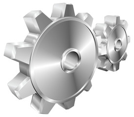 Shiny glossy mechanical cogs or gears vector illustration
