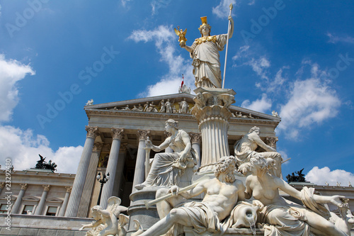 Austrian Parliament building with statue of Athena in Vienna