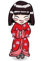 cute little girl in japanese kimono