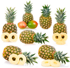 Collection of ripe pineapples isolated