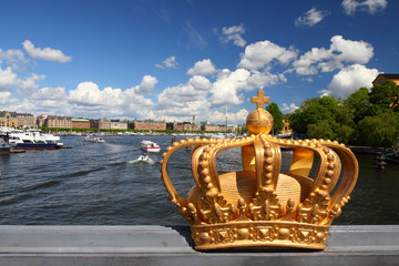 Stockholm - famous Skeppsholm island bridge crown