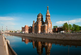 Sightseeing of Saint-Petersburg city, Russia. Church and canal poster
