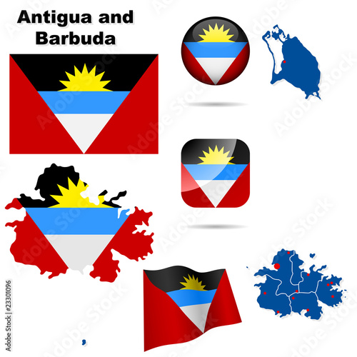 Antigua and Barbuda set. Shape , flags and icons.