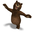 cute and funny toon bear. 3D rendering with clipping path and sh