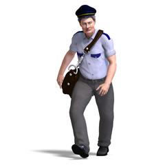 funnny postman with hat and letter bag. 3D rendering with clippi