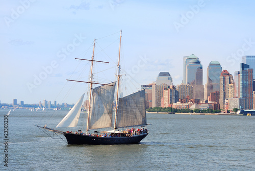 Sailing boat in New York City Manhattan